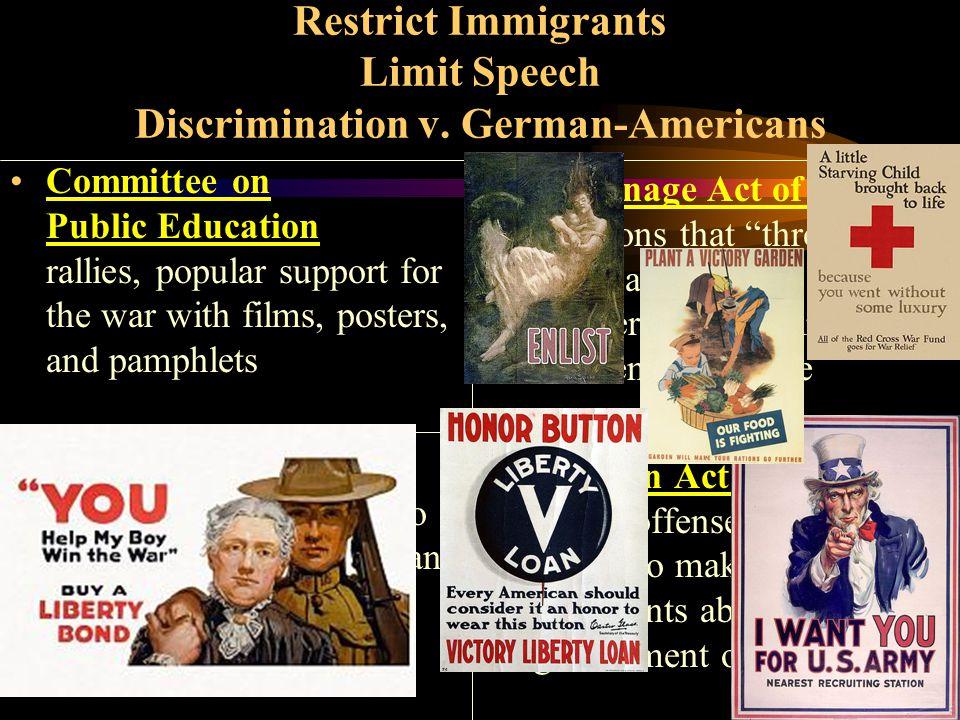 Restrict Immigrants Limit Speech Discrimination v.
