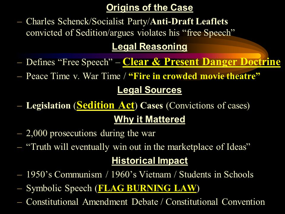 Origins of the Case –Charles Schenck/Socialist Party/Anti-Draft Leaflets convicted of Sedition/argues violates his free Speech Legal Reasoning –Defines Free Speech – Clear & Present Danger Doctrine –Peace Time v.