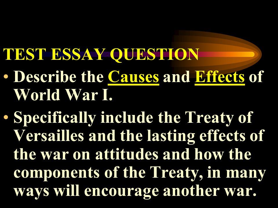 TEST ESSAY QUESTION Describe the Causes and Effects of World War I.