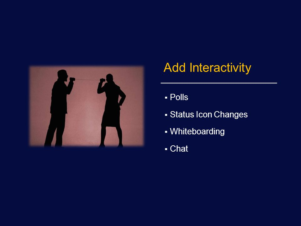 Add Interactivity  Polls  Status Icon Changes  Whiteboarding  Chat