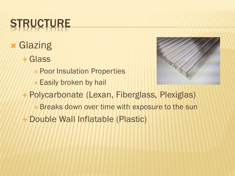  Glazing  Glass  Poor Insulation Properties  Easily broken by hail  Polycarbonate (Lexan, Fiberglass, Plexiglas)  Breaks down over time with exp