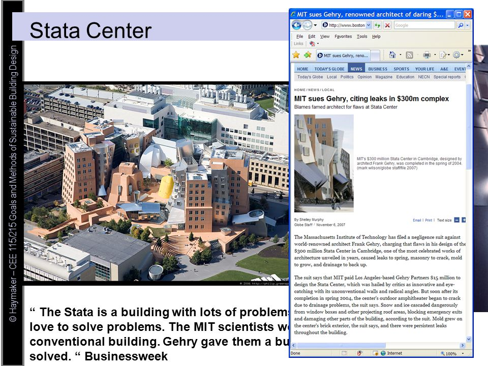 © Haymaker – CEE 115/215 Goals and Methods of Sustainable Building Design The Stata is a building with lots of problems, inhabited by guys who love to solve problems.