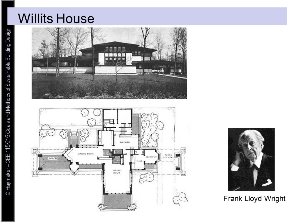 © Haymaker – CEE 115/215 Goals and Methods of Sustainable Building Design Frank Lloyd Wright Willits House