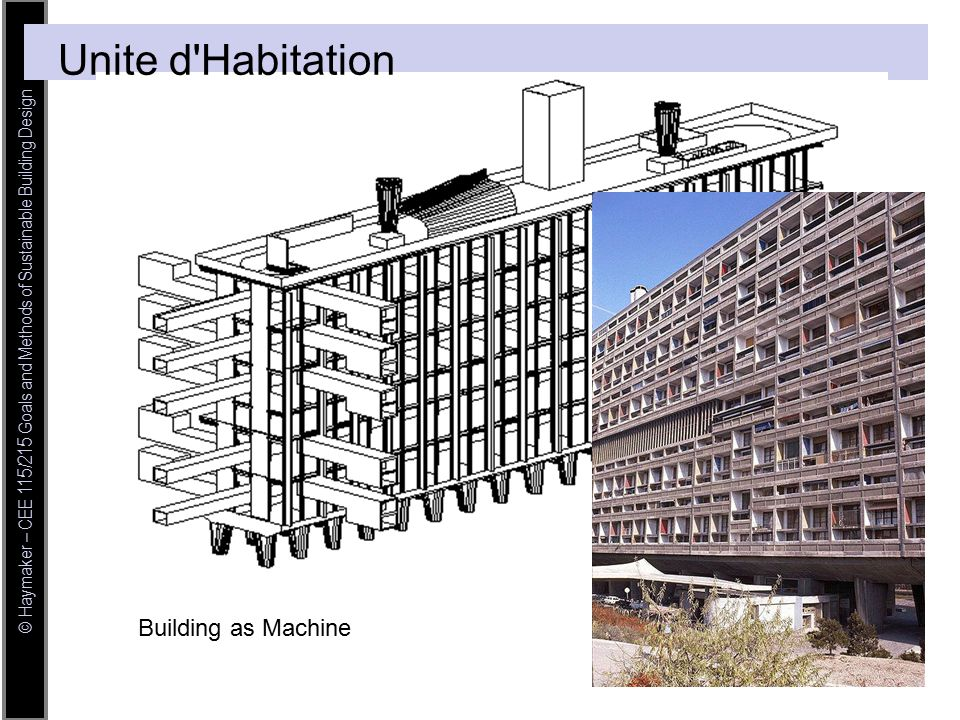 © Haymaker – CEE 115/215 Goals and Methods of Sustainable Building Design Unite d Habitation Building as Machine