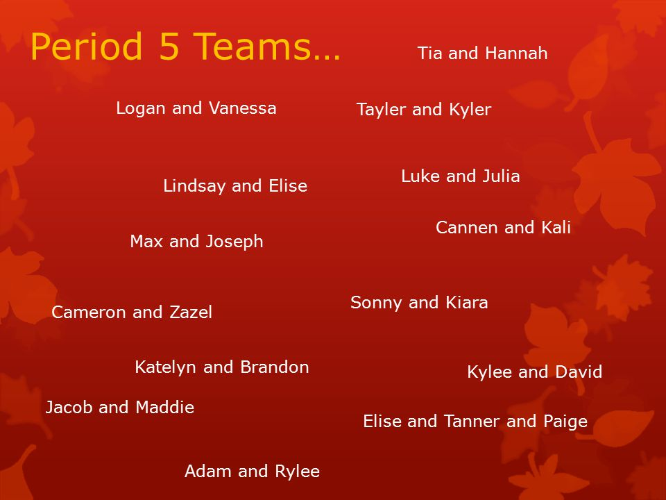 Period 5 Teams… Tayler and Kyler Elise and Tanner and Paige Cameron and Zazel Luke and Julia Jacob and Maddie Max and Joseph Katelyn and Brandon Tia and Hannah Logan and Vanessa Adam and Rylee Cannen and Kali Sonny and Kiara Lindsay and Elise Kylee and David