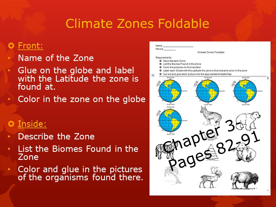 Climate Zones Foldable  Front: Name of the Zone Glue on the globe and label with the Latitude the zone is found at.