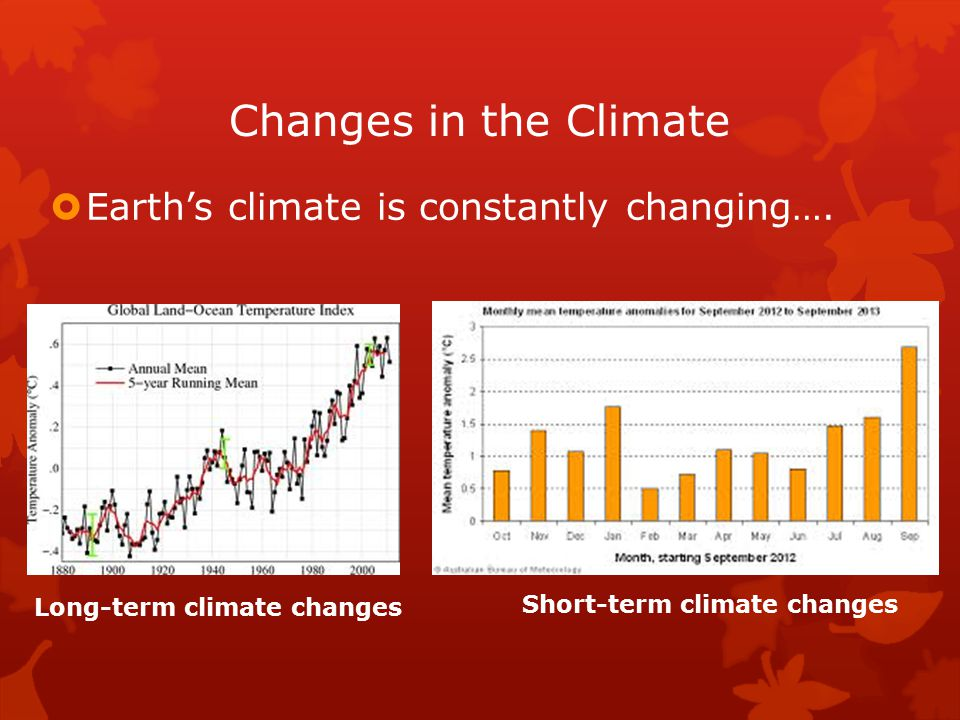 Changes in the Climate  Earth's climate is constantly changing….