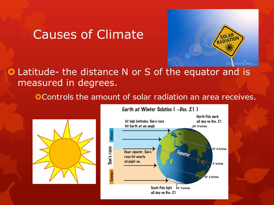 Causes of Climate  Latitude- the distance N or S of the equator and is measured in degrees.