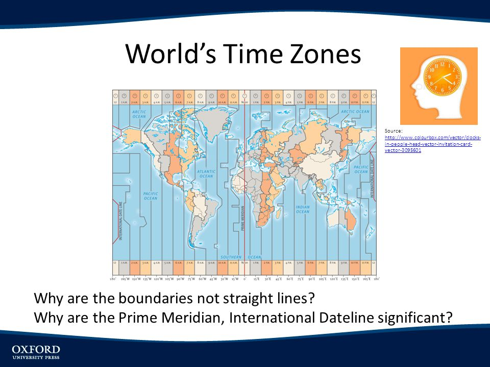 World's Time Zones Why are the boundaries not straight lines? Why are the Prime Meridian, International Dateline significant? Source: http://www.colou