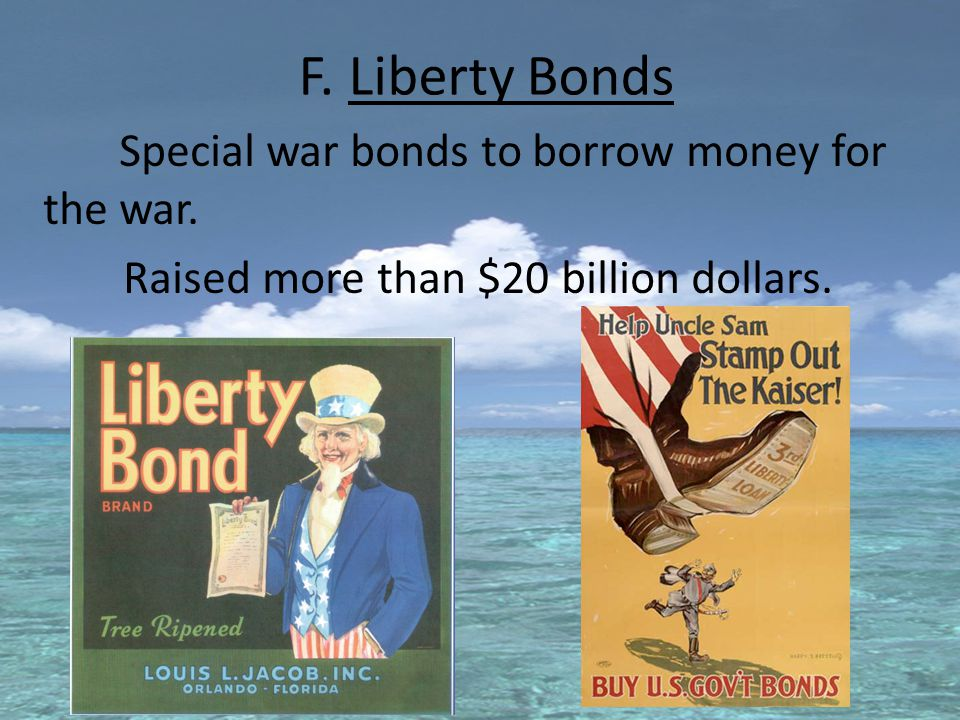 F. Liberty Bonds Special war bonds to borrow money for the war.