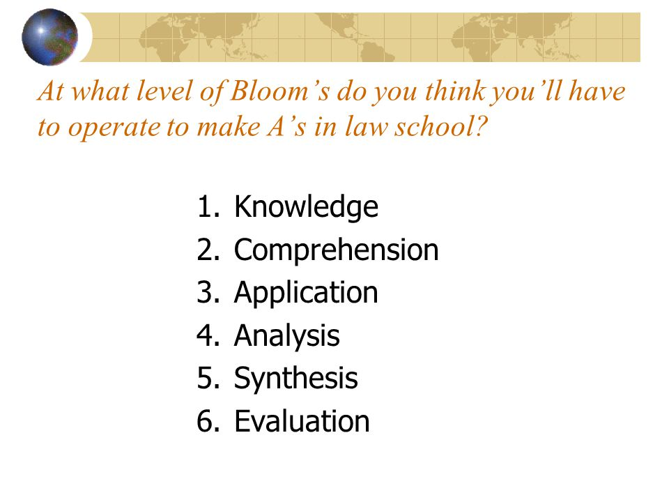 At what level of Bloom's do you think you'll have to operate to make A's in law school? 1.Knowledge 2.Comprehension 3.Application 4.Analysis 5.Synthes