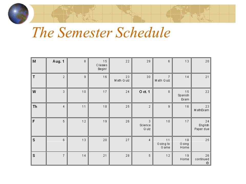 The Semester Schedule