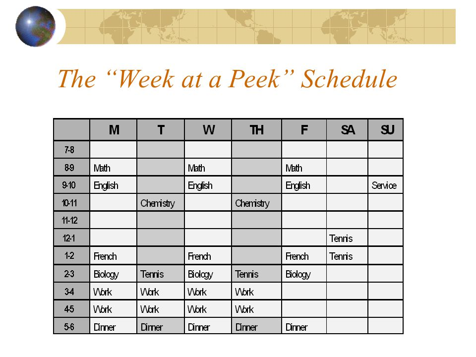 "The ""Week at a Peek"" Schedule"
