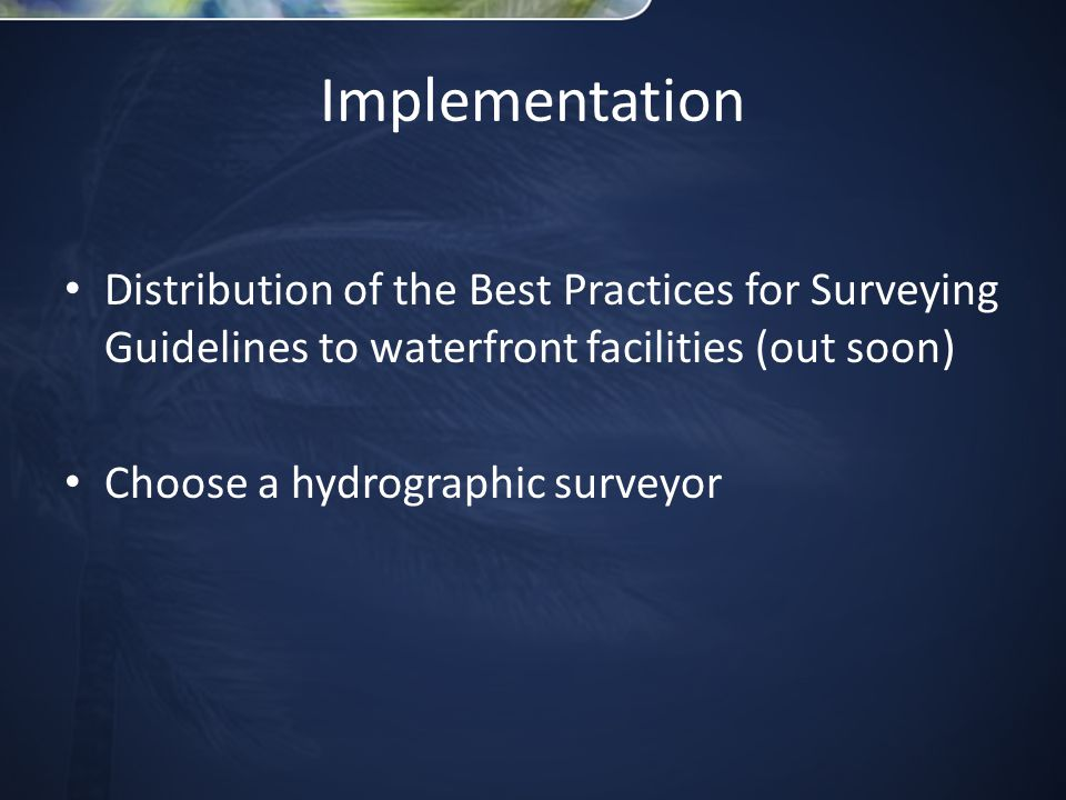 Implementation Distribution of the Best Practices for Surveying Guidelines to waterfront facilities (out soon) Choose a hydrographic surveyor