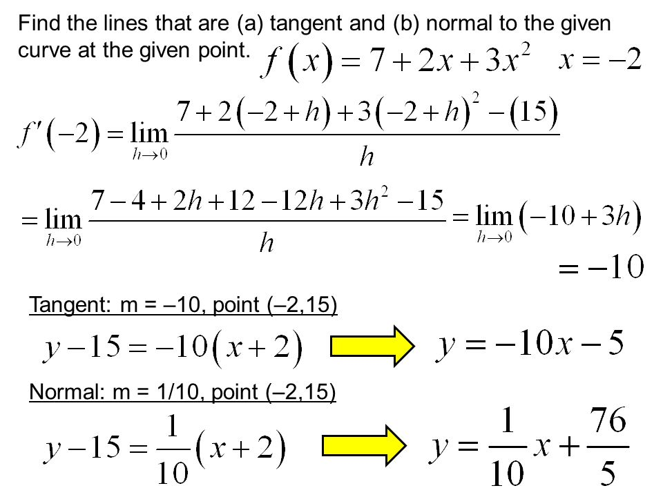 Find the lines that are (a) tangent and (b) normal to the given curve at the given point.