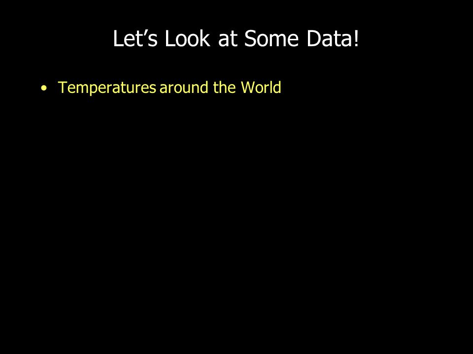 Let's Look at Some Data! Temperatures around the World