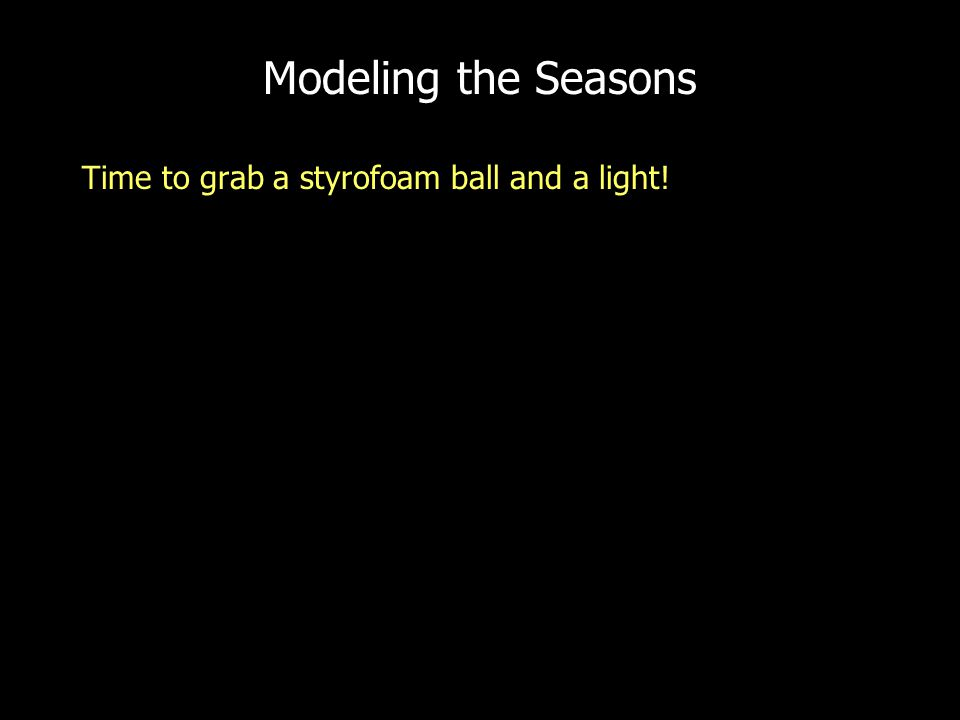 Modeling the Seasons Time to grab a styrofoam ball and a light!