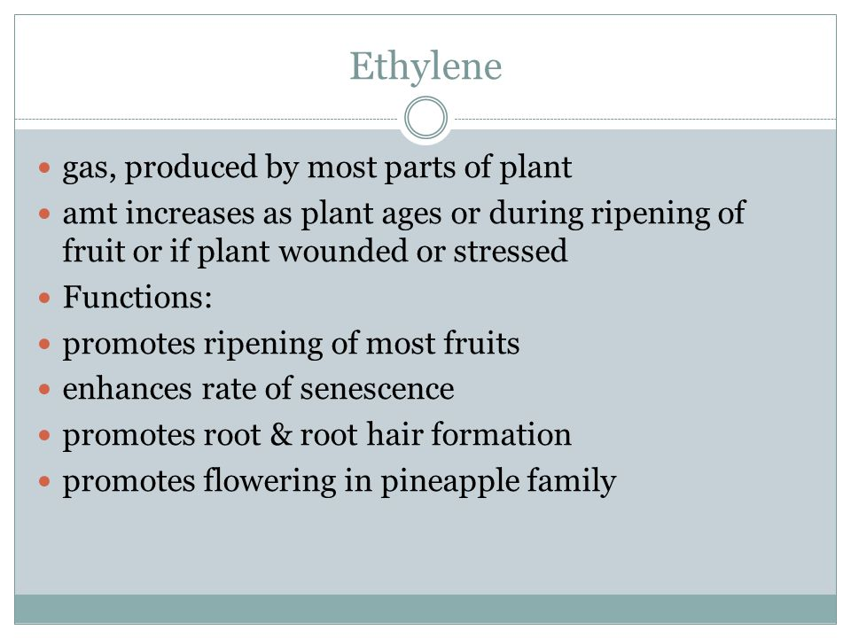 Ethylene gas, produced by most parts of plant amt increases as plant ages or during ripening of fruit or if plant wounded or stressed Functions: promo