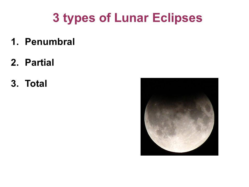 3 types of Lunar Eclipses 1.Penumbral 2.Partial 3.Total