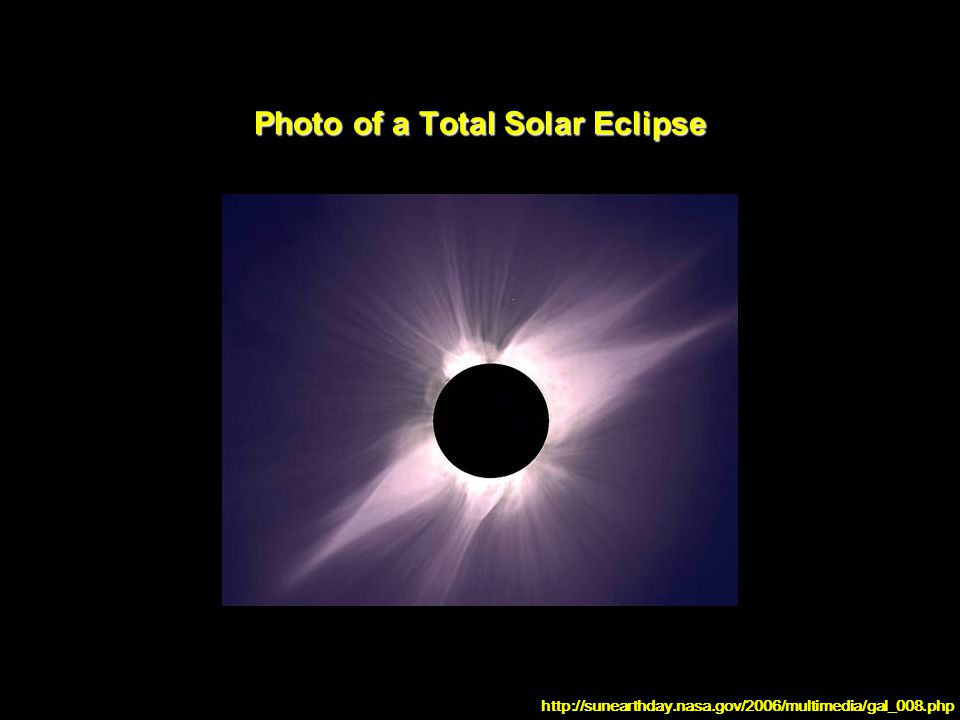 Photo of a Total Solar Eclipse http://sunearthday.nasa.gov/2006/multimedia/gal_008.php
