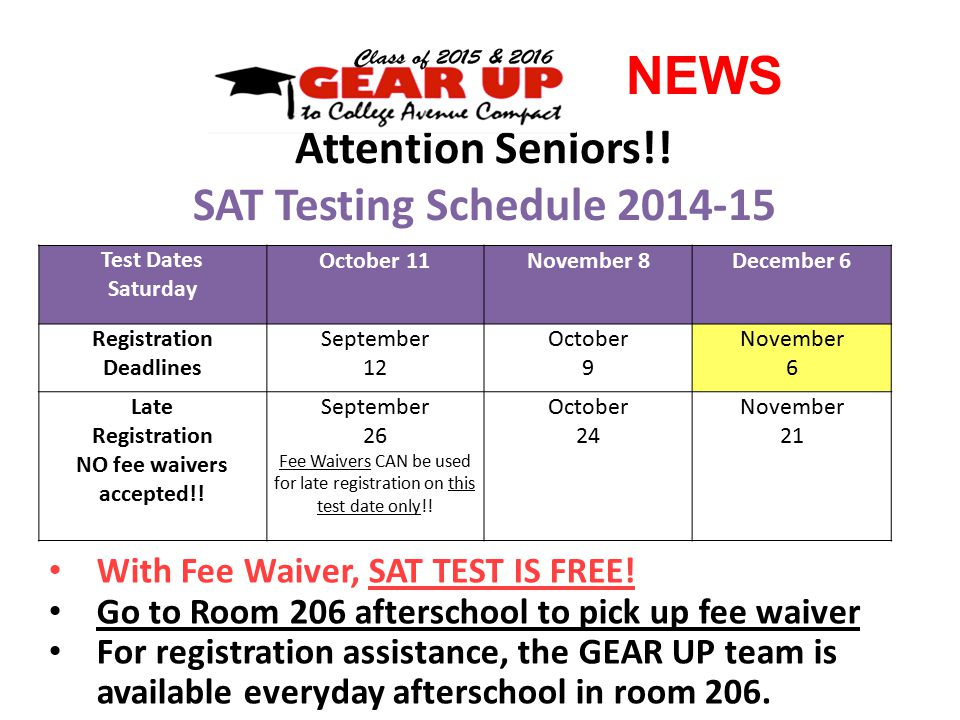 NEWS Attention Seniors!. SAT Testing Schedule 2014-15 With Fee Waiver, SAT TEST IS FREE.