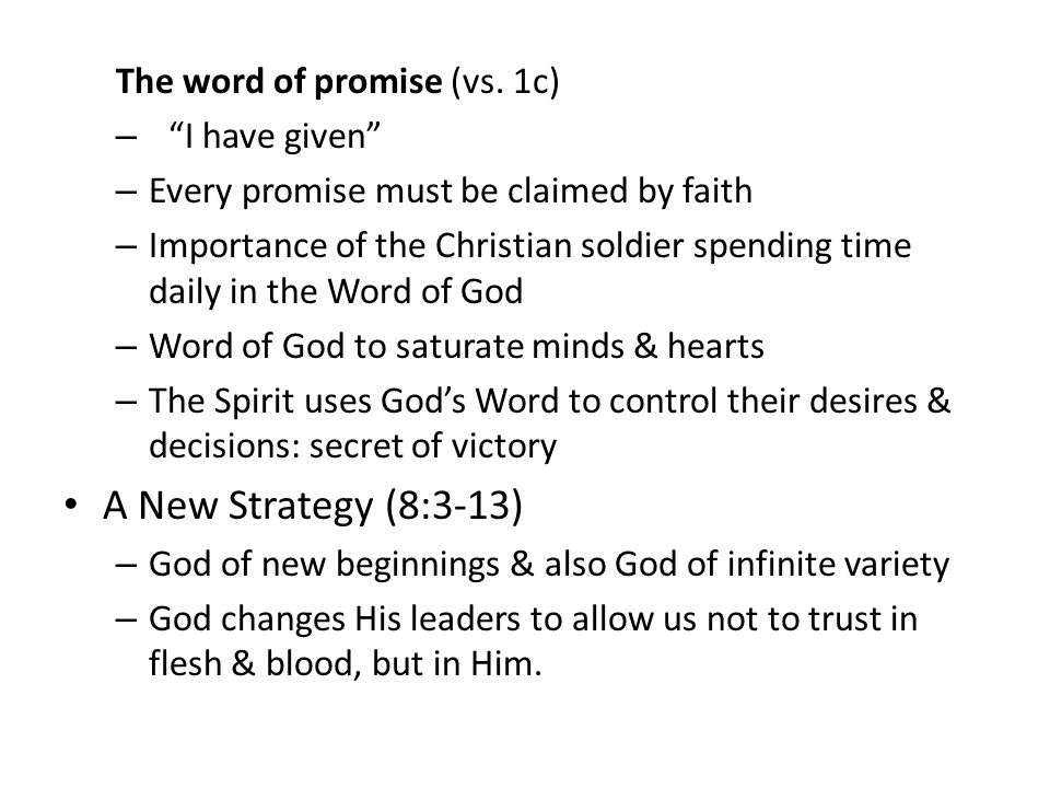 The word of promise (vs.
