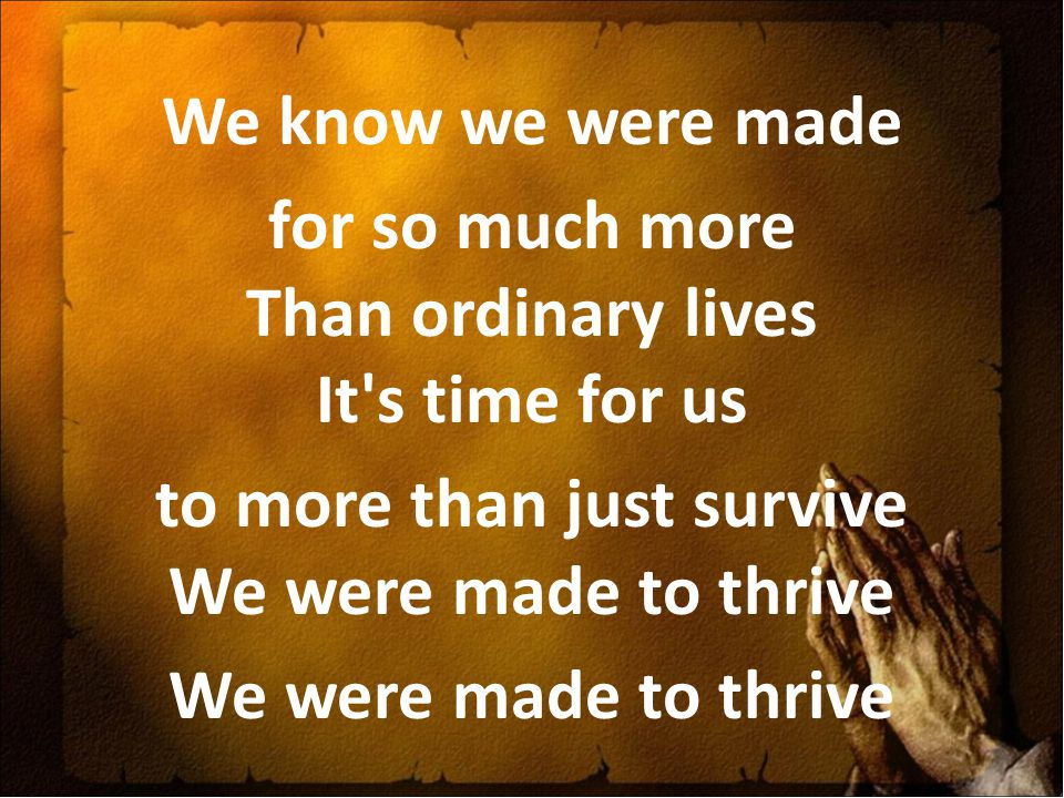 We know we were made for so much more Than ordinary lives It's time for us to more than just survive We were made to thrive We were made to thrive