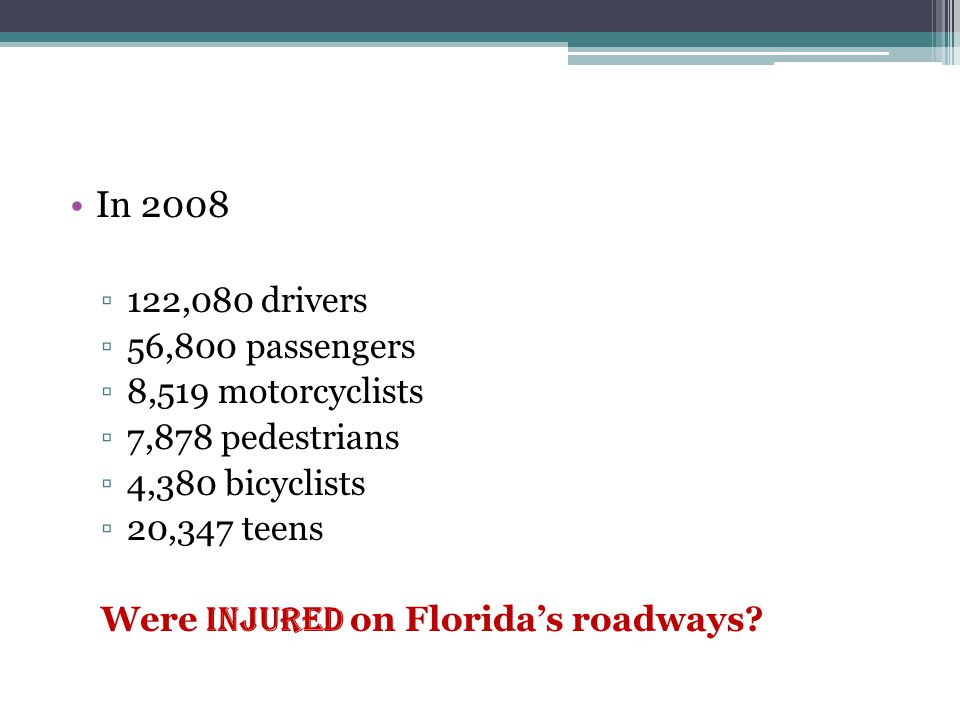 In 2008 ▫122,080 drivers ▫56,800 passengers ▫8,519 motorcyclists ▫7,878 pedestrians ▫4,380 bicyclists ▫20,347 teens Were injured on Florida's roadways?