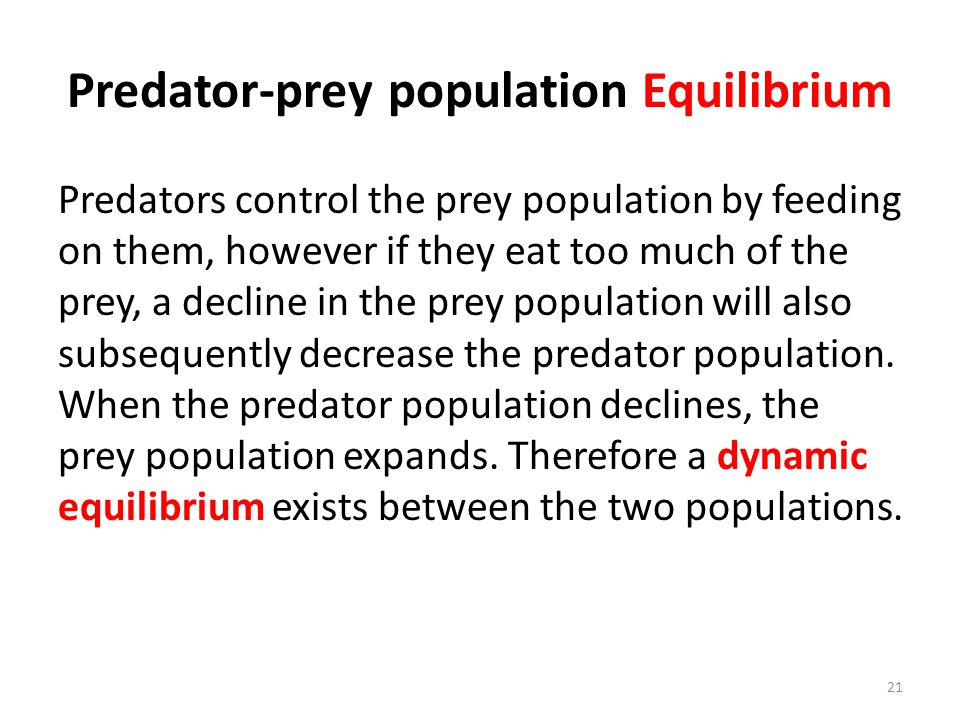 Predator-prey population Equilibrium Predators control the prey population by feeding on them, however if they eat too much of the prey, a decline in