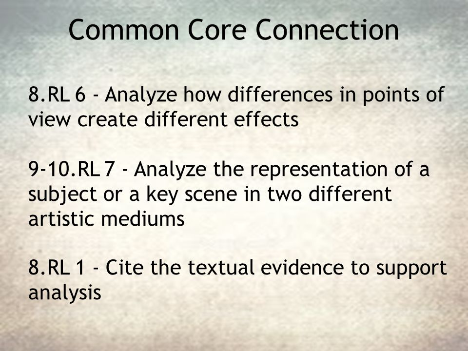 Common Core Connection 8.RL 6 - Analyze how differences in points of view create different effects 9-10.RL 7 - Analyze the representation of a subject