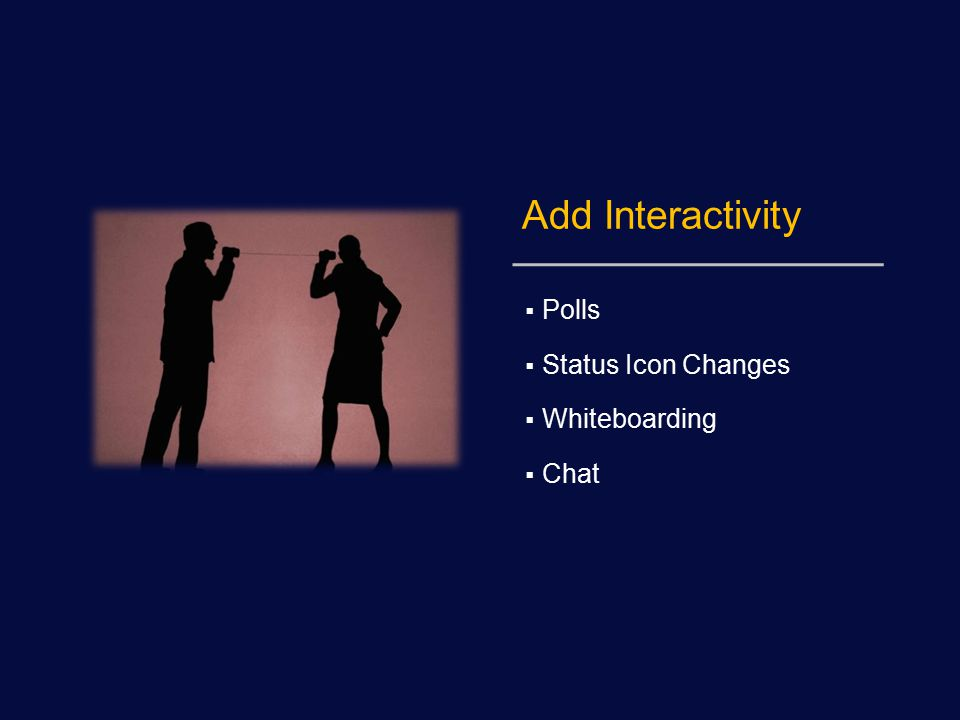 Add Interactivity  Polls  Status Icon Changes  Whiteboarding  Chat