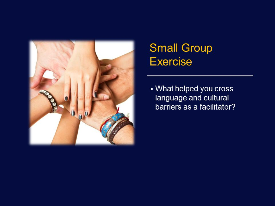 Small Group Exercise  What helped you cross language and cultural barriers as a facilitator