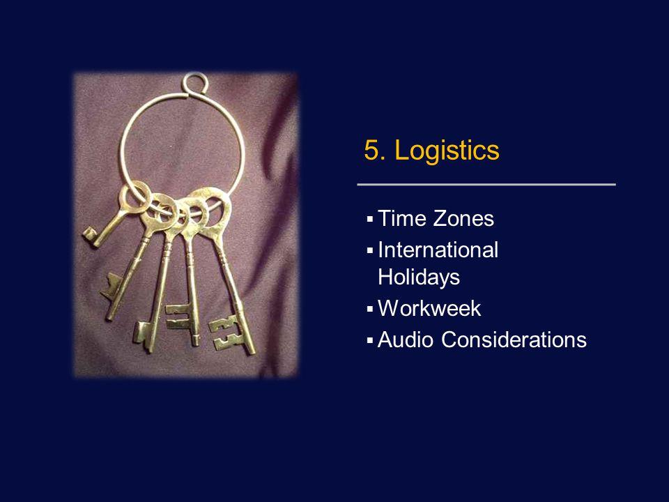 5. Logistics  Time Zones  International Holidays  Workweek  Audio Considerations