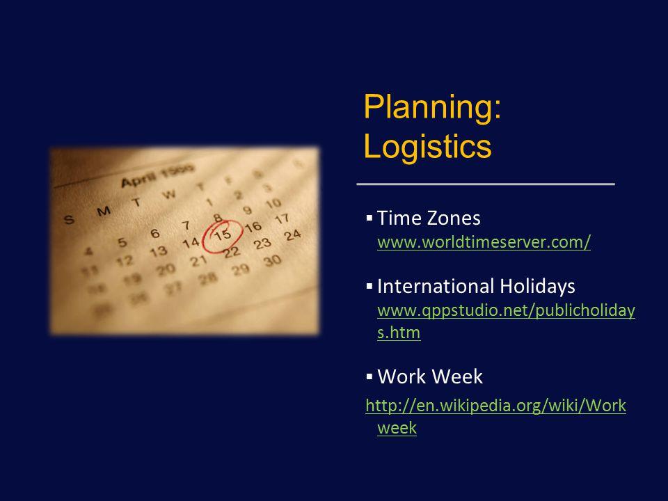 Planning: Logistics  Time Zones www.worldtimeserver.com/ www.worldtimeserver.com/  International Holidays www.qppstudio.net/publicholiday s.htm www.qppstudio.net/publicholiday s.htm  Work Week http://en.wikipedia.org/wiki/Work week