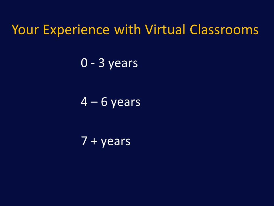 Your Experience with Virtual Classrooms 0 - 3 years 4 – 6 years 7 + years