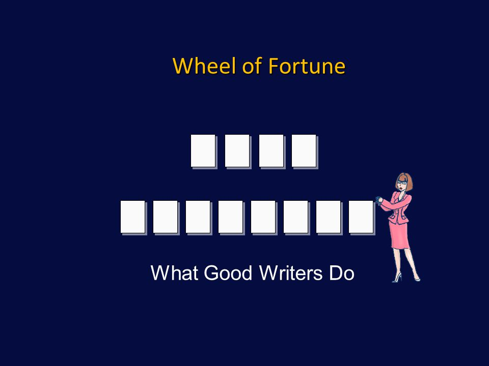 Wheel of Fortune What Good Writers Do