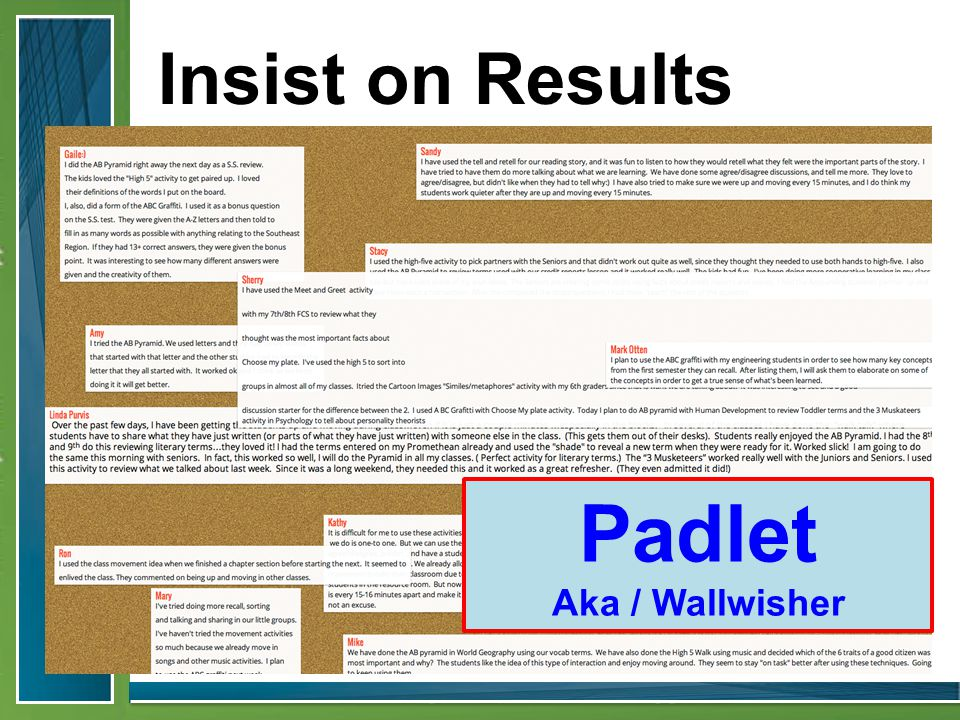 Padlet Aka / Wallwisher Insist on Results