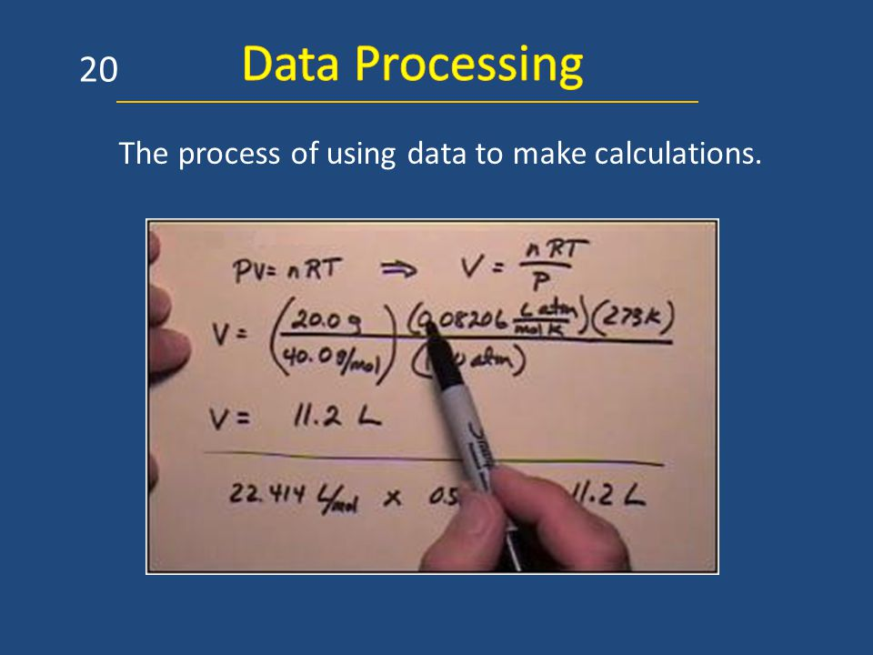 The process of using data to make calculations. 20