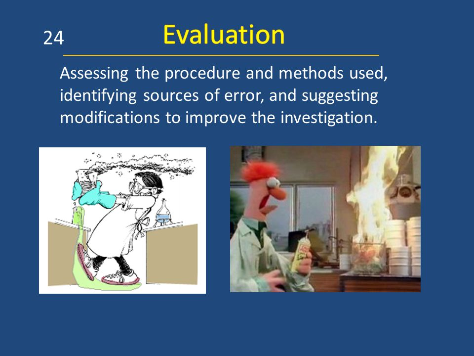 Assessing the procedure and methods used, identifying sources of error, and suggesting modifications to improve the investigation.