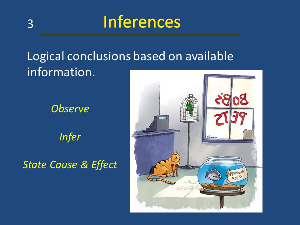 Logical conclusions based on available information. Observe Infer State Cause & Effect 3