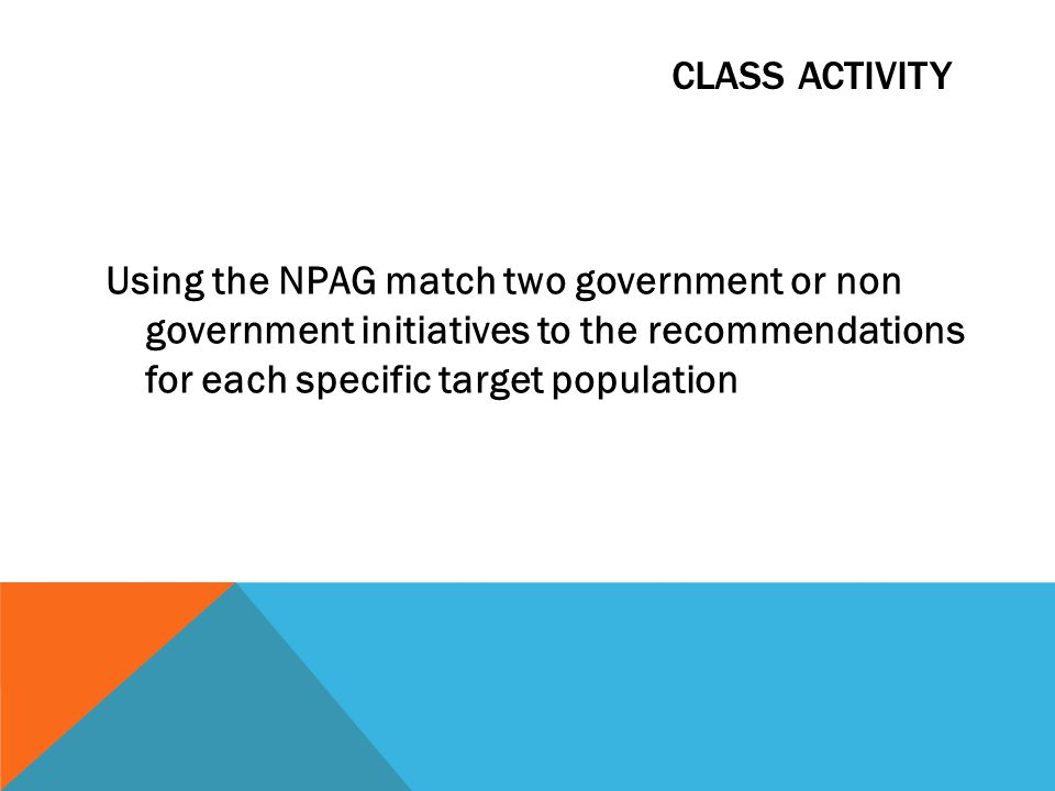 CLASS ACTIVITY Using the NPAG match two government or non government initiatives to the recommendations for each specific target population