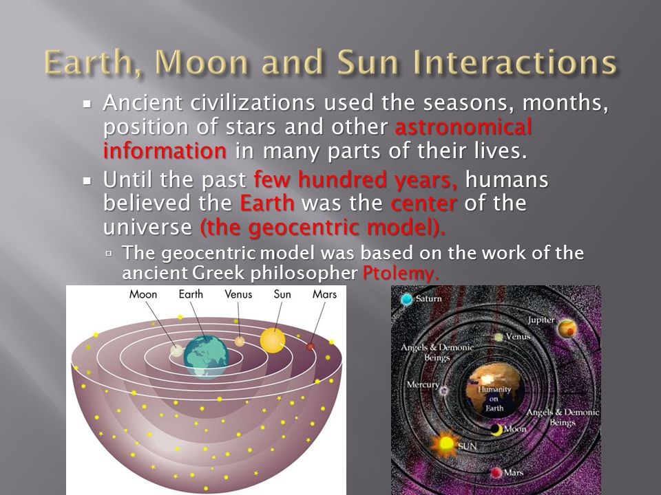  Ancient civilizations used the seasons, months, position of stars and other astronomical information in many parts of their lives.  Until the past