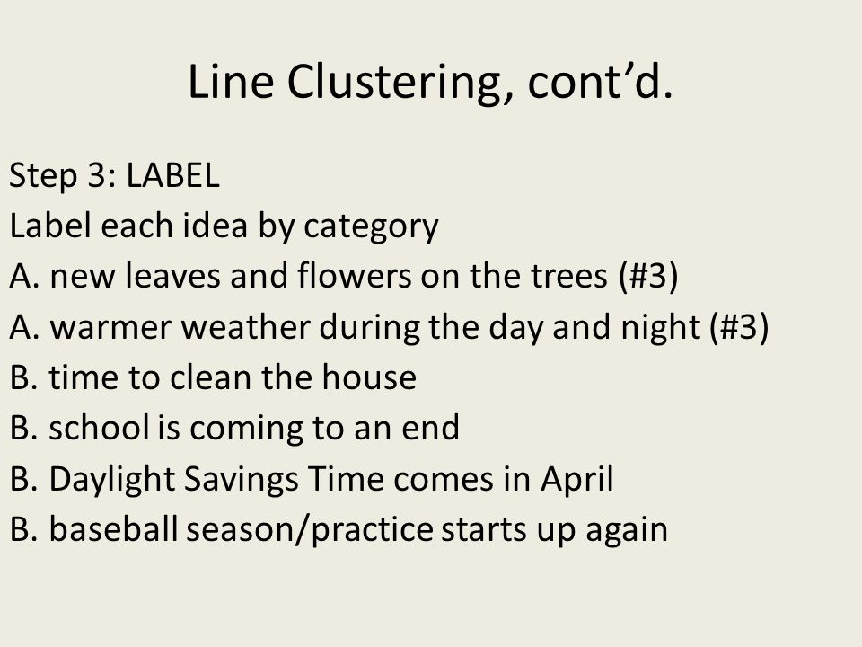 Line Clustering, cont'd.Step 3: LABEL Label each idea by category A.