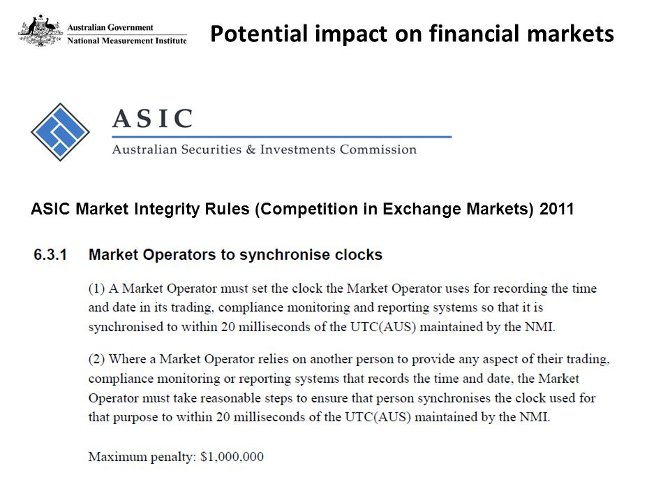 ASIC Market Integrity Rules (Competition in Exchange Markets) 2011 Potential impact on financial markets