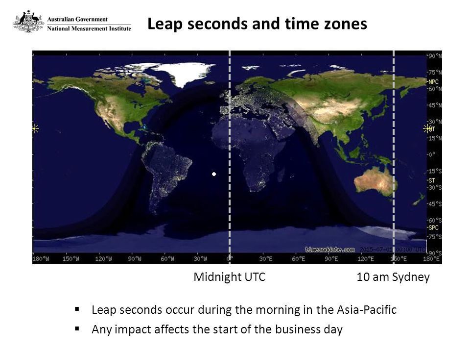 Midnight UTC10 am Sydney  Leap seconds occur during the morning in the Asia-Pacific  Any impact affects the start of the business day Leap seconds and time zones