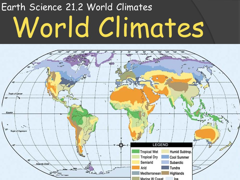 Earth Science 21.2 World Climates  If you were to travel around the world, you would find an incredible variety of climates.
