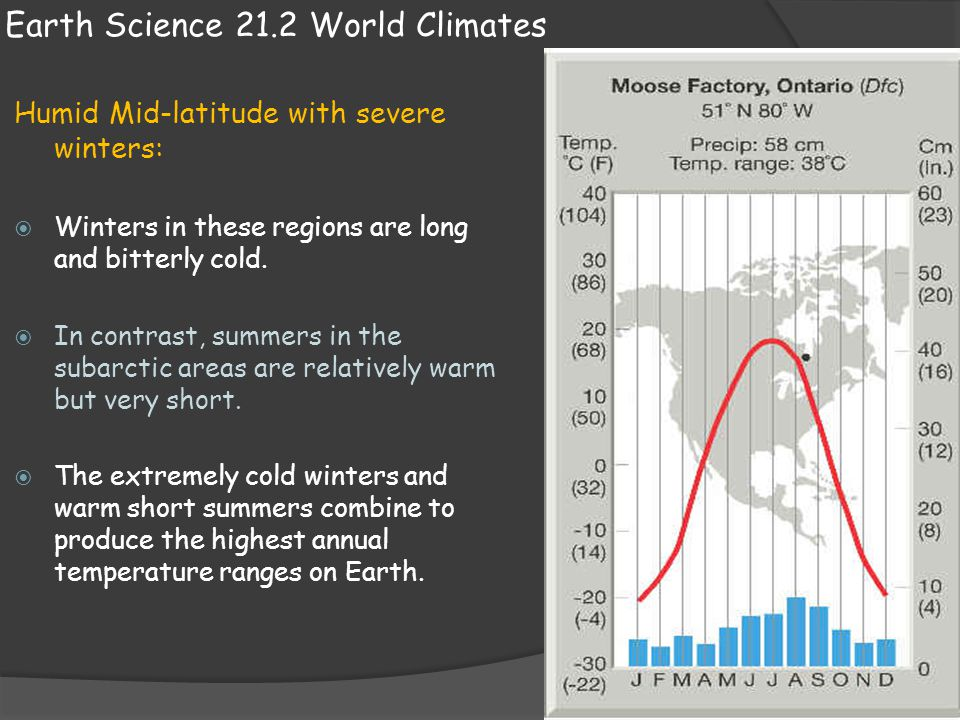 Earth Science 21.2 World Climates Humid Mid-latitude with severe winters:  Winters in these regions are long and bitterly cold.  In contrast, summer