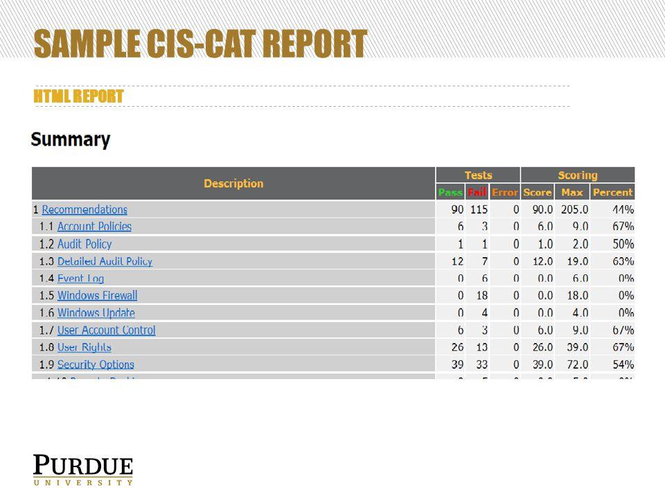 SAMPLE CIS-CAT REPORT HTML REPORT