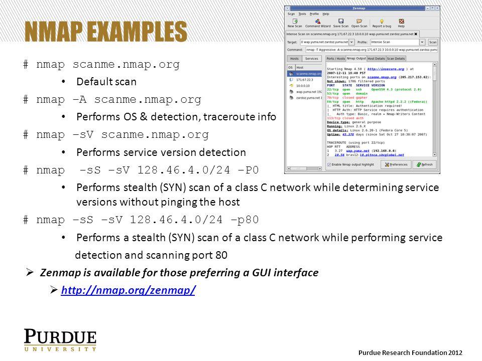 NMAP OUTPUT nmap scanme.nmap.org Starting Nmap 5.51 ( http://nmap.org ) at 2012-10-01 13:08 Eastern Daylight Time Nmap scan report for scanme.nmap.org (74.207.244.221) Host is up (0.083s latency).