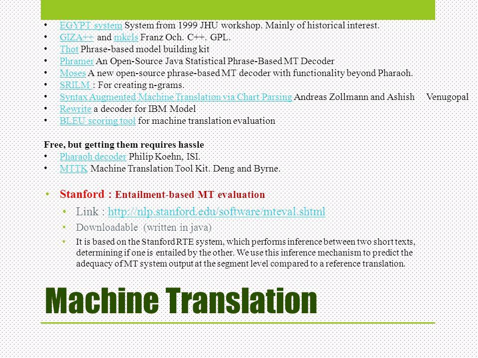 Machine Translation Stanford : Entailment-based MT evaluation Link : http://nlp.stanford.edu/software/mteval.shtmlhttp://nlp.stanford.edu/software/mte